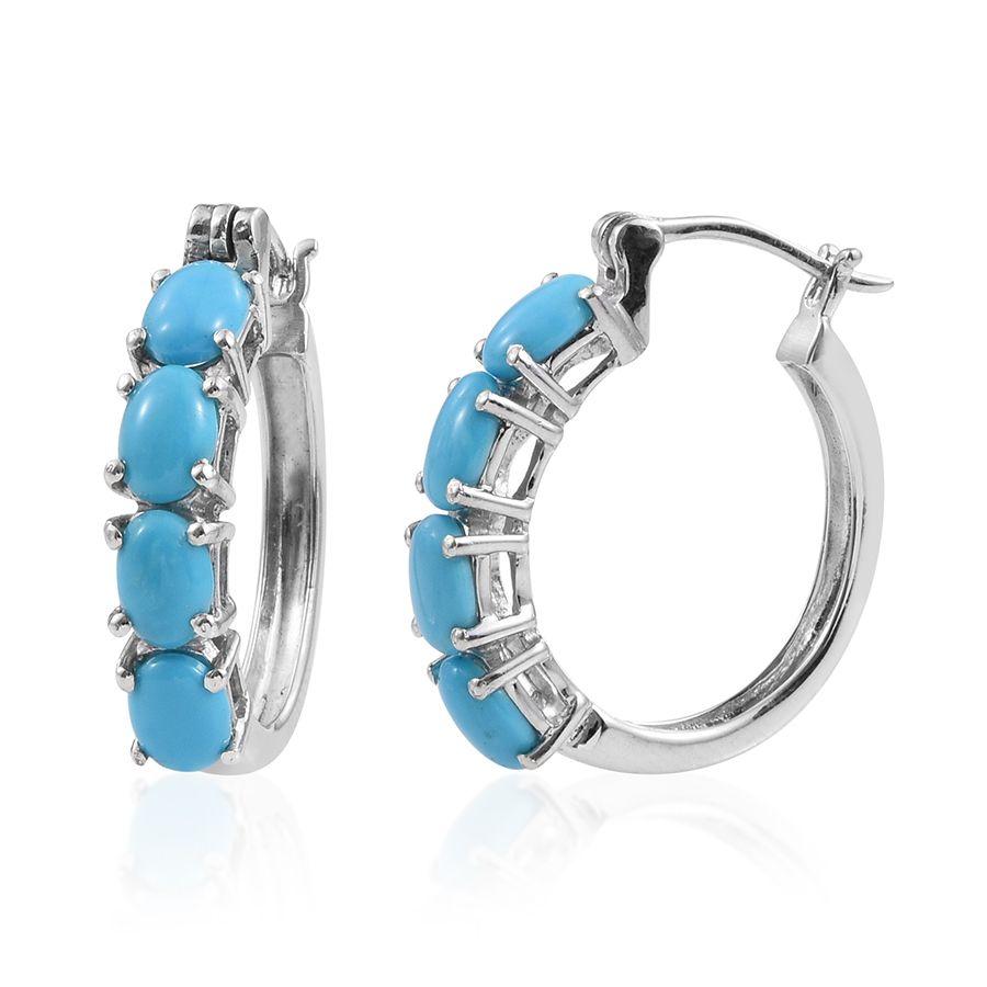 Arizona Sleeping Beauty Turquoise Platinum Over Sterling Silver Hoop  Earrings Tgw 440 Cts  Hoop  Earrings  Jewelry  Onlinestore  Shop Lc