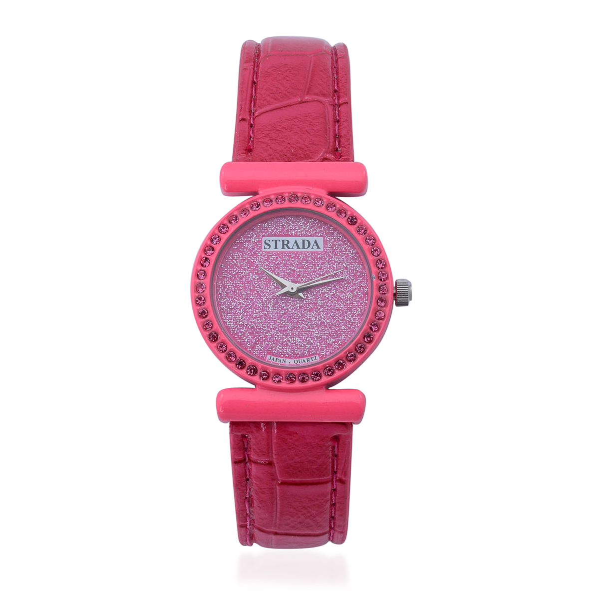 STRADA Austrian Crystal Japanese Movement Pink Glitter Face Watch with Pink Band and Stainless Steel Back