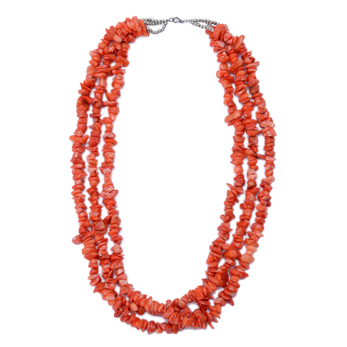 Bamboo Coral Triple Strand Necklace (22 in) in Silvertone TGW 155.000 cts.