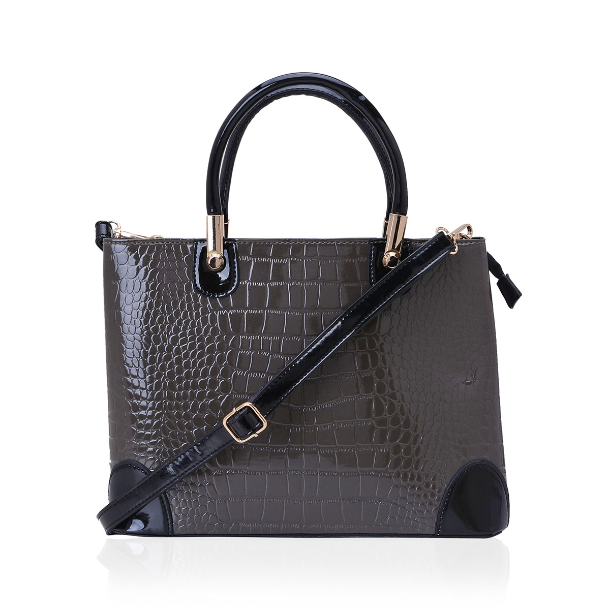 J Francis - Gray Crocodile Embossed Faux Leather Tote Bag (14x5x10in)