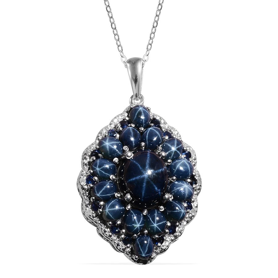 Thai blue star sapphire ovl 725 ct kanchanaburi blue sapphire thai blue star sapphire ovl 725 ct kanchanaburi blue sapphire diamond pendant with chain 20 in in platinum overlay sterling silver nickel free tdiawt aloadofball Gallery