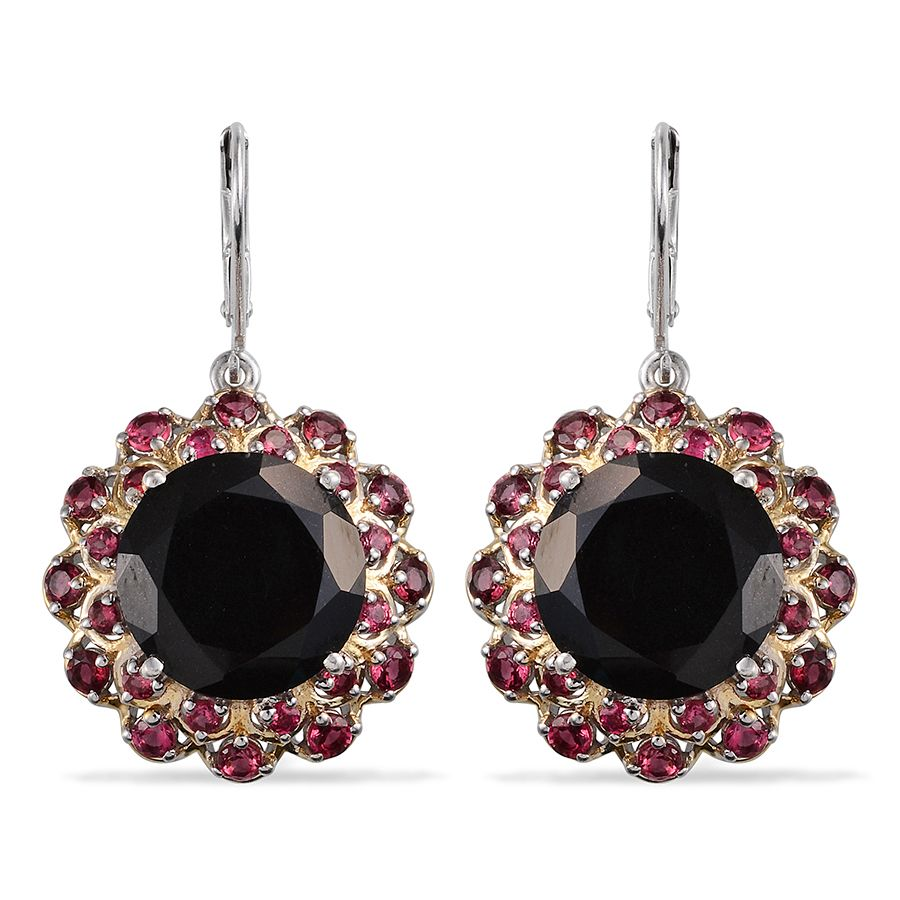 Australian Black Tourmaline, Mahenge Pink Spinel 14k Yg And Platinum Over  Sterling Silver Lever Back Earrings Tgw 23880 Cts