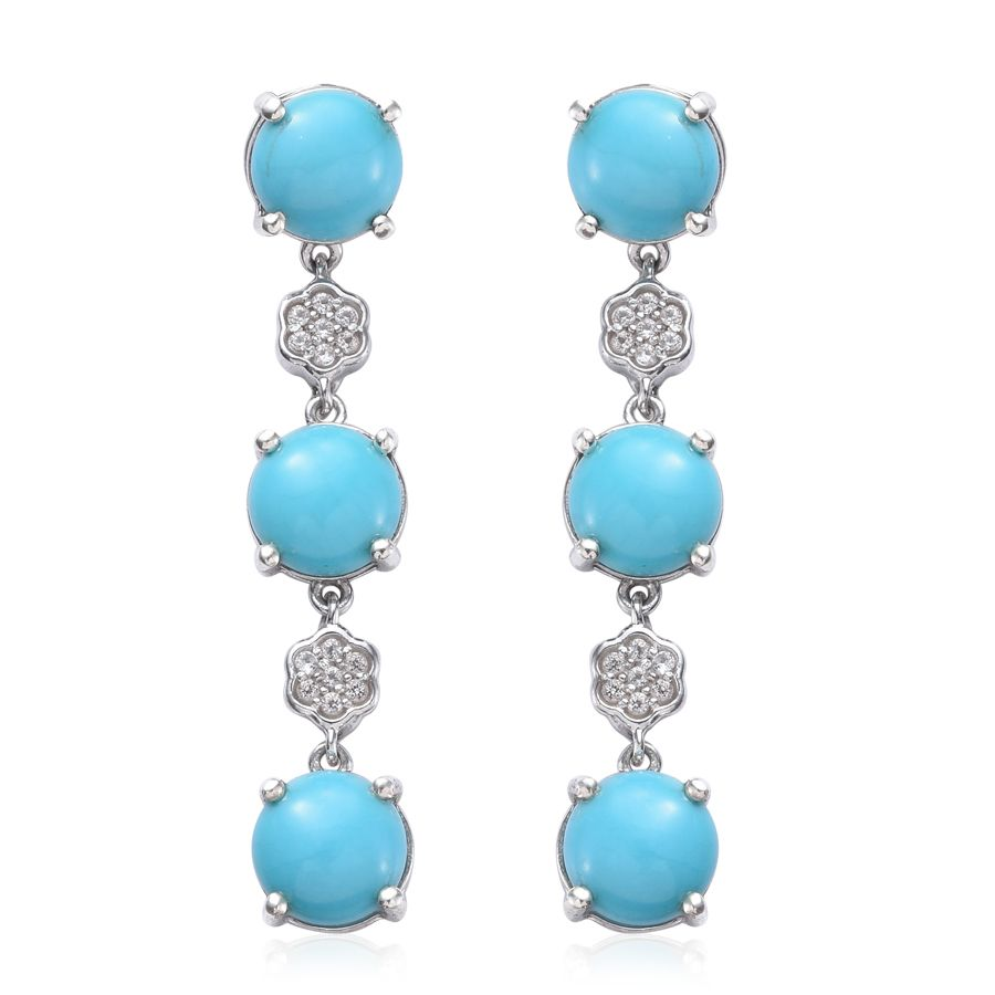 Arizona Sleeping Beauty Turquoise, White Topaz Platinum Over Sterling  Silver Earrings Tgw 618 Cts 2277819