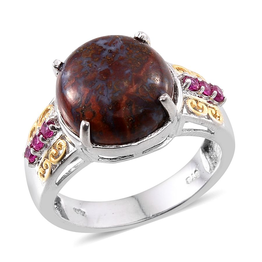 Karis Collection  Redlighting Jasper, Simulated Red Diamond Ion Plated 18k  Yg And Platinum Bond Brass Ring (size 90) Tgw 8600 Cts