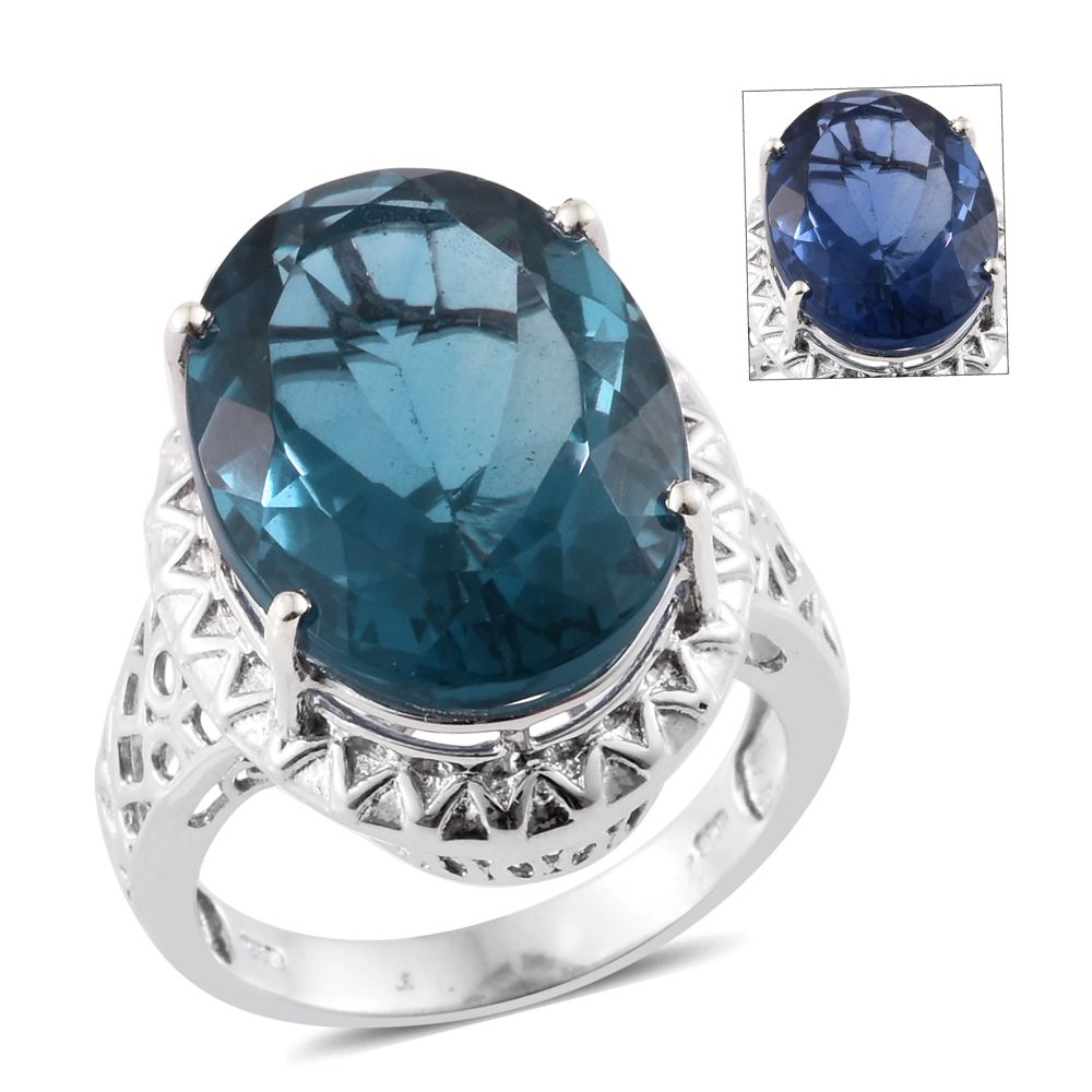 Color change fluorite platinum over sterling silver ring for Fashion jewelry that won t change color