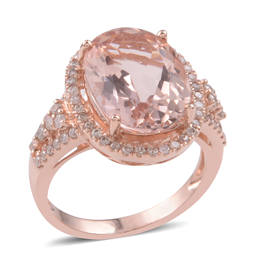14K RG Marropino Morganite, Diamond Ring (Size 11.0) TDiaWt 0.45 cts ...