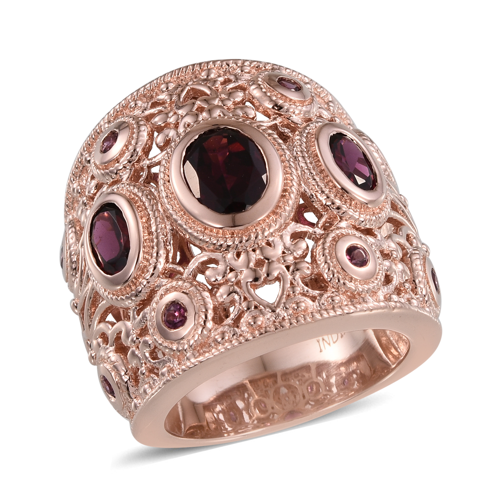 Rhodolite-Garnet-Rose-Gold-Over-925-Sterling-Silver-Cluster-Anniversary-Ring
