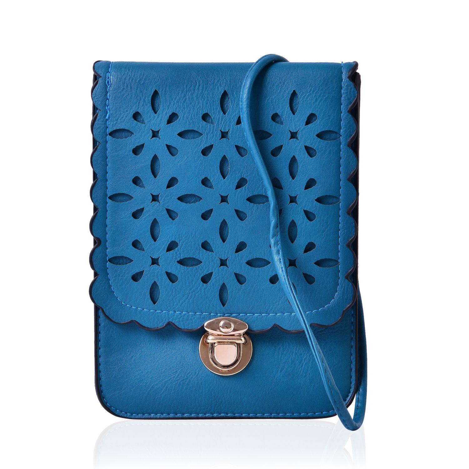 Teal Faux Leather Crossbody Bag (6x8.5 in)
