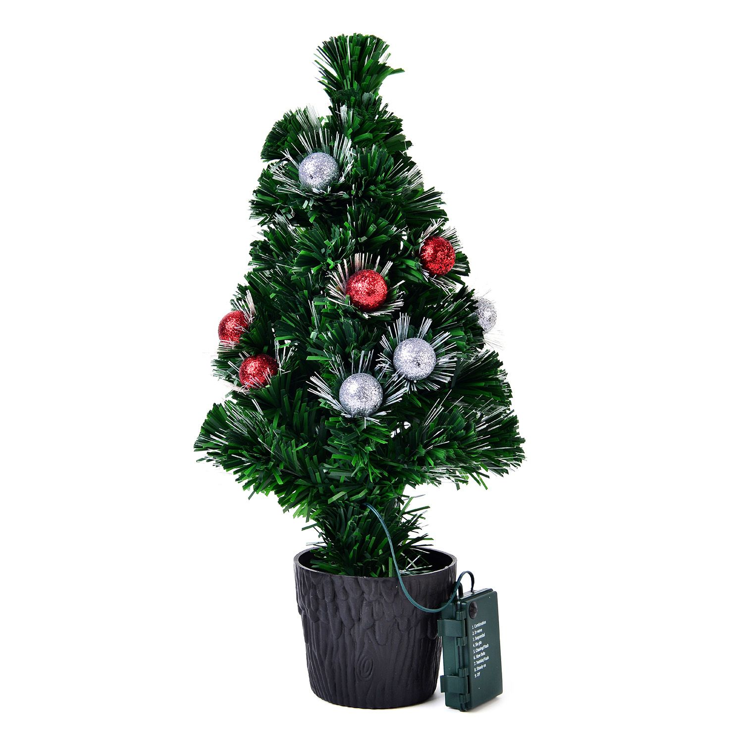 silver christmas tree remote fiber optic tree 19 in 11586