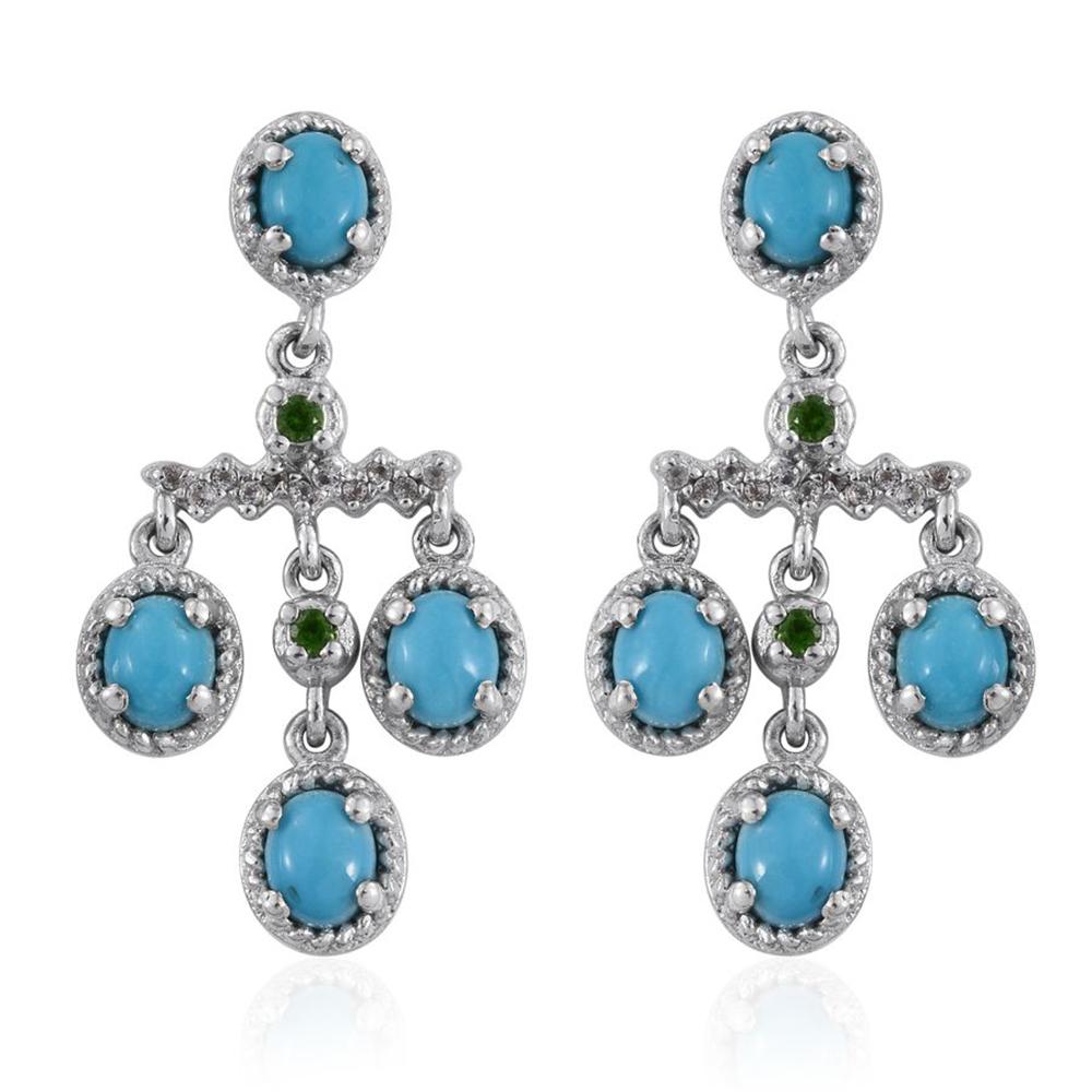 Arizona Sleeping Beauty Turquoise, Russian Diopside, White Topaz Platinum  Over Sterling Silver Chandelier Earrings Tgw 3040 Cts  Drop  Earrings