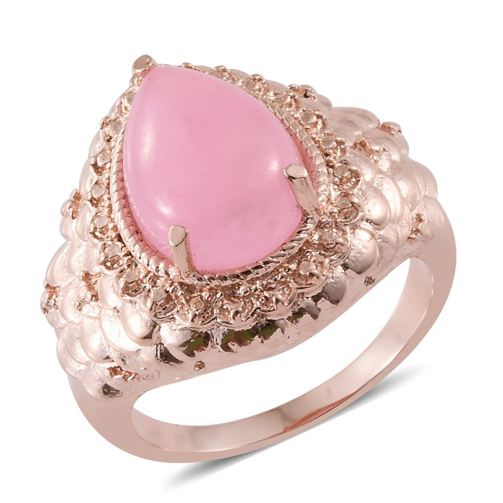 Enhanced Pink Jade ION Plated RG Stainless Steel Ring (Size 6.0) TGW ...