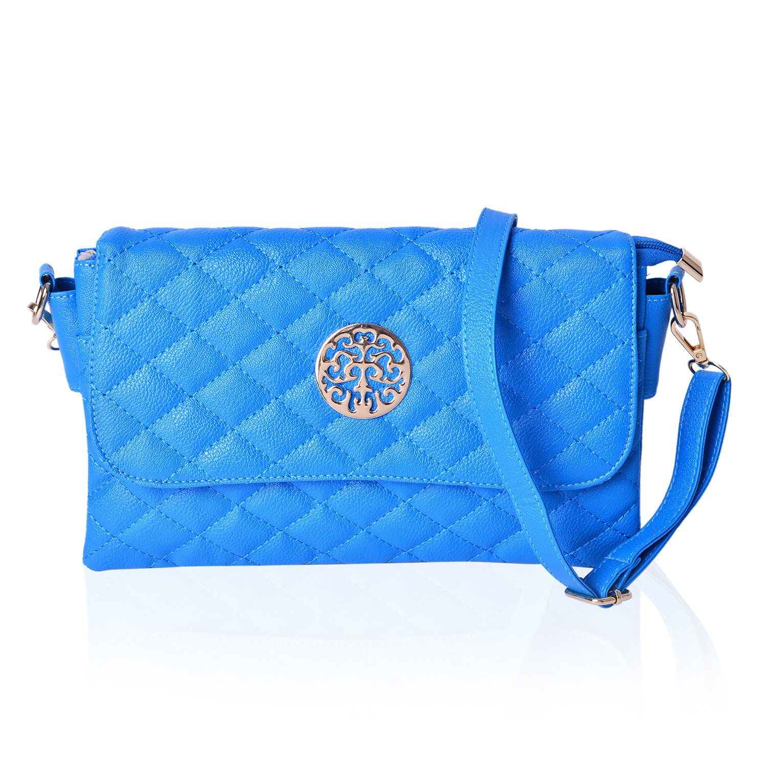 Royal Blue Quilted Faux Leather Flap Over Crossbody Barrel Bag (11x7 in) 1170a97cf4218