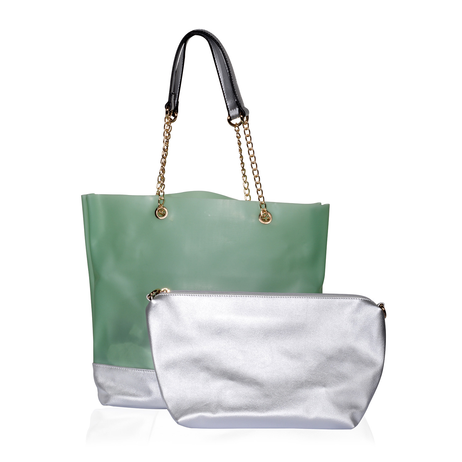1dd1b16c95 Lime Green and Silver Two-Tone Vegan Leather Tote on Chain Link Straps  (13x5x14 in) with Matching Peach Vegan Leather Clutch Barrel Bag (13.5x5x8  in) ...