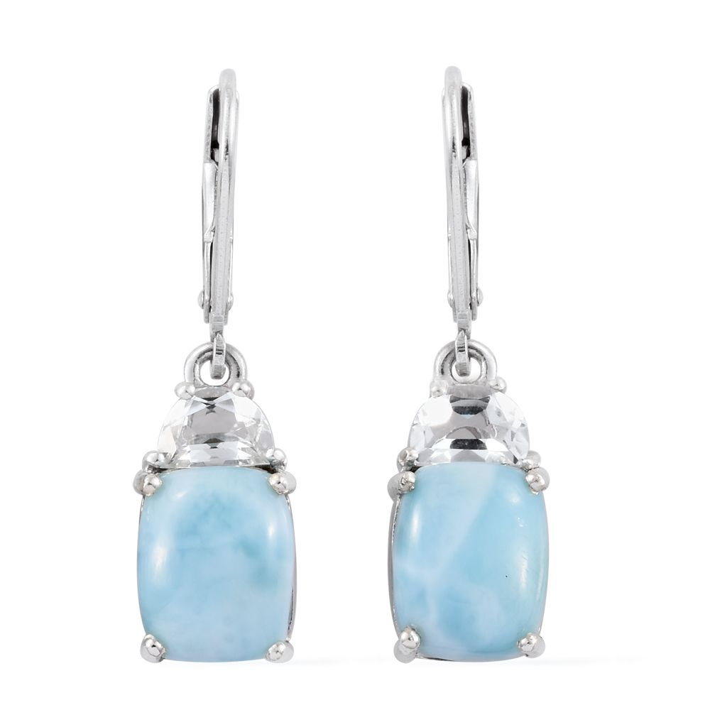 89c7173d5 Larimar, White Topaz Platinum Over Sterling Silver Lever Back Earrings TGW  8.16 cts. | Silver-Jewelry | Promotions | online-store | Shop LC