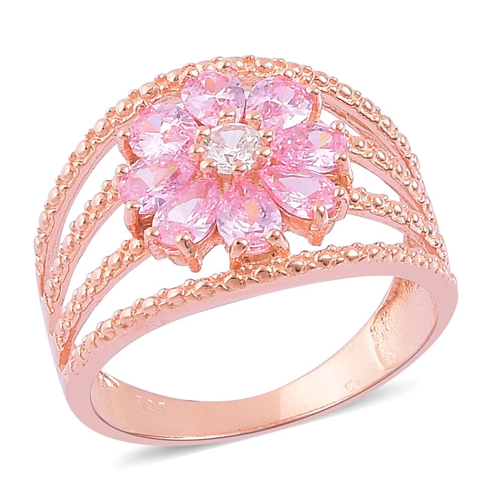 Simulated Pink Diamond 14K RG Over Sterling Silver Ring (Size 10.0 ...