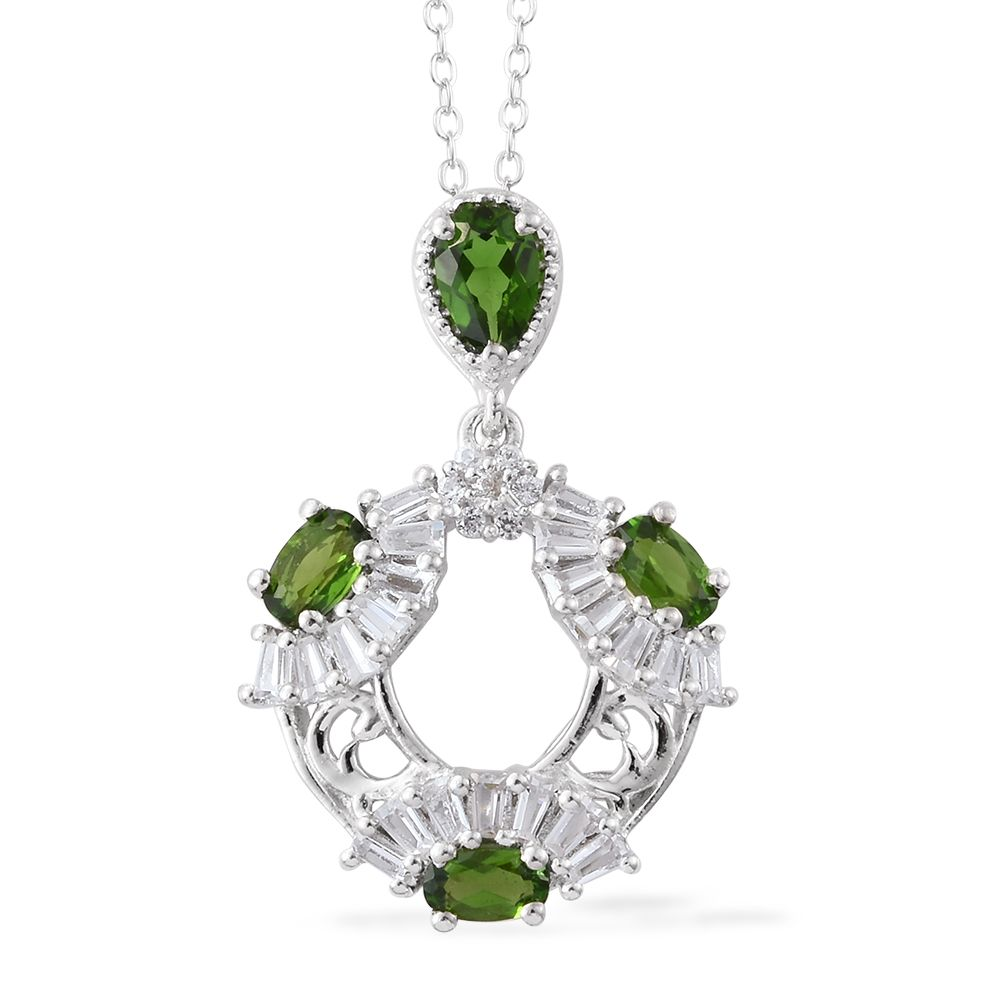 Russian diopside cambodian zircon platinum over sterling silver russian diopside cambodian zircon platinum over sterling silver pendant with chain 20 in tgw 249 cts 2757323 aloadofball Image collections