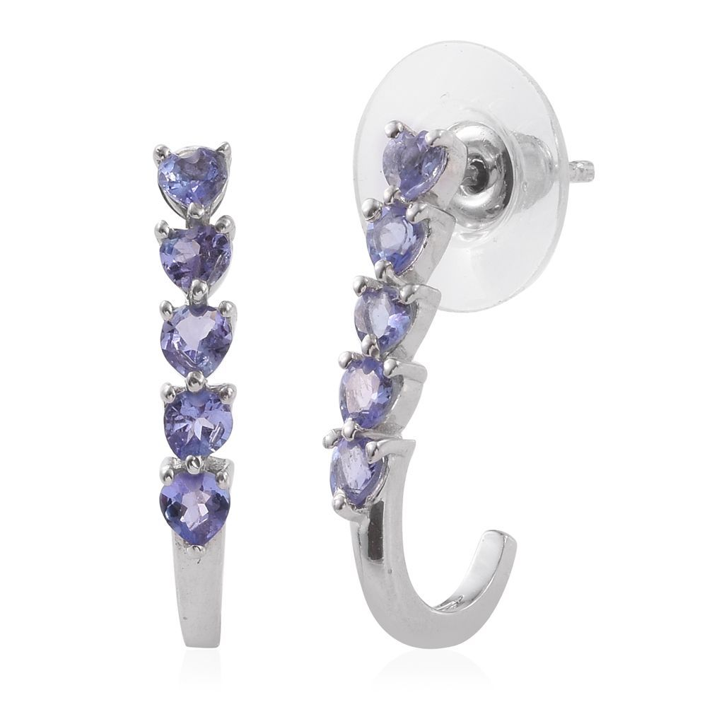 tanzanite platinum sterling silver j hoop earrings