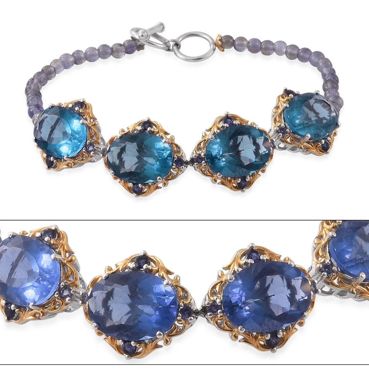 Color change fluorite catalina iolite 14k yg and platinum for Fashion jewelry that won t change color