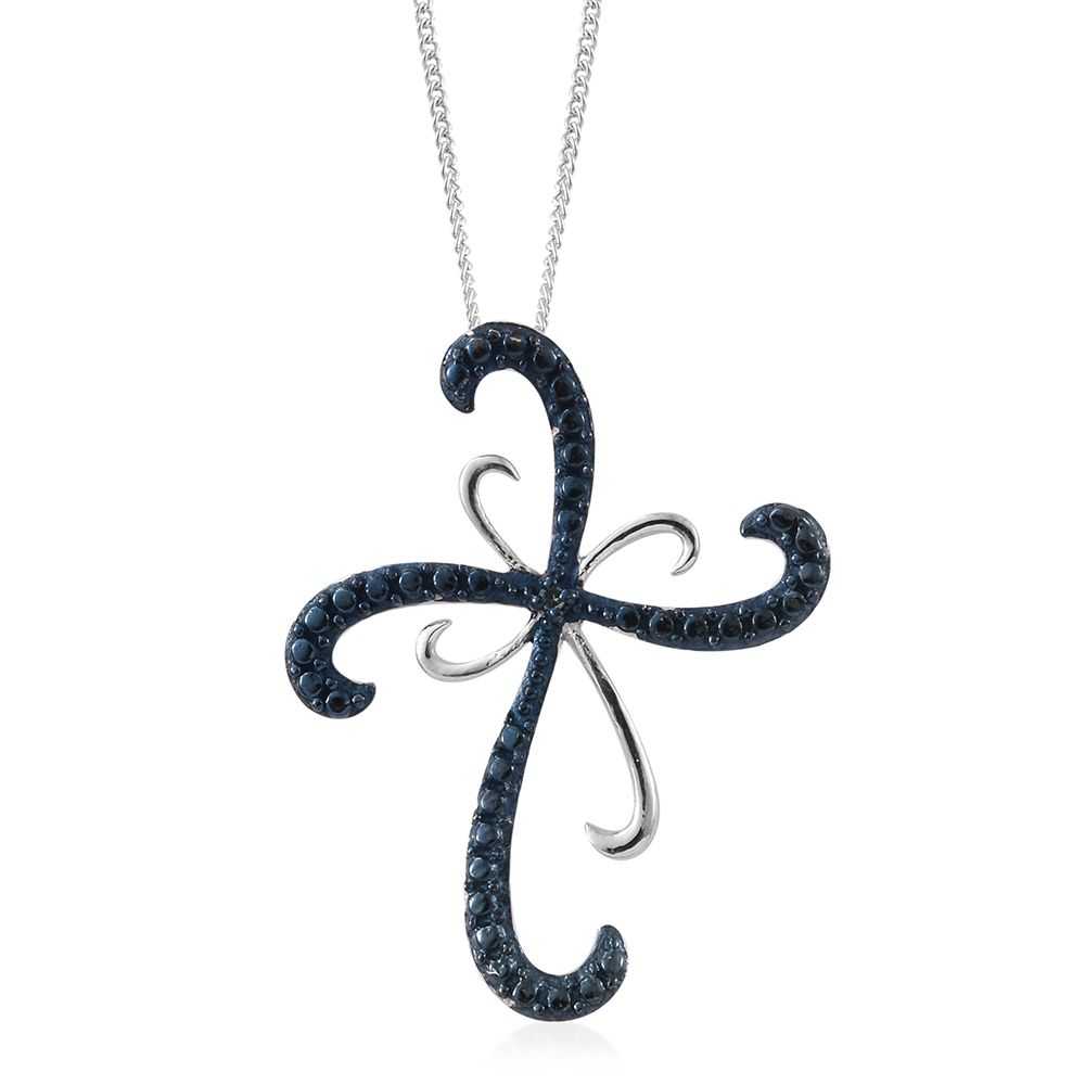 Blue diamond accent ir blue rhodium platinum over sterling blue diamond accent ir blue rhodium platinum over sterling silver cross pendant with stainless steel chain 20 in 2849750 mozeypictures Choice Image
