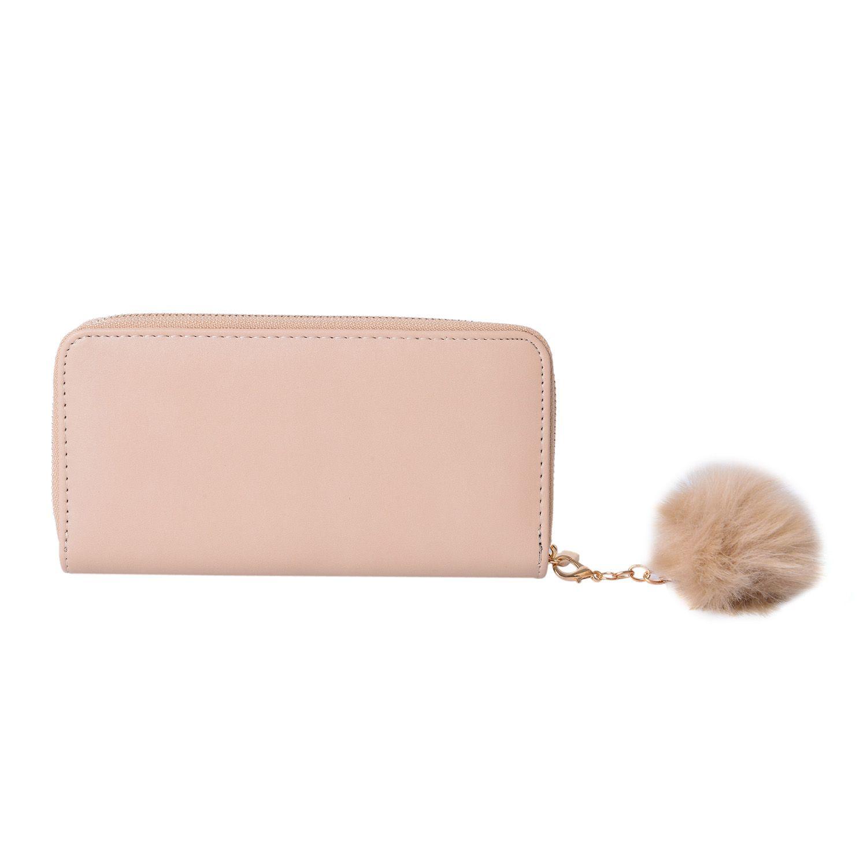 ce320ef58 Cream Vegan Leather Zipper Wallet with Key Chain Pom Pom (7.5x1x4 in)