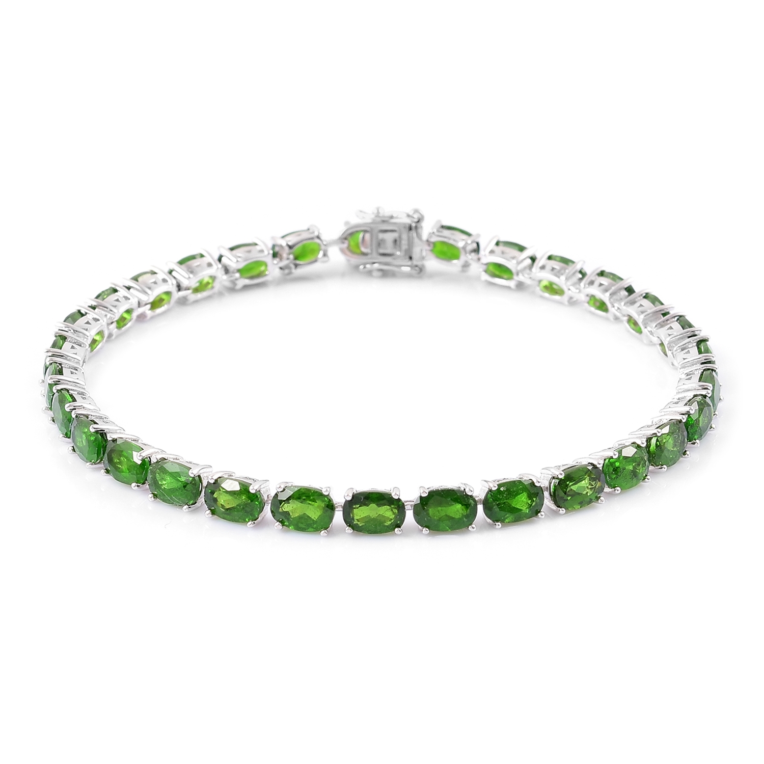 Mega Doorbuster Russian Diopside Sterling Silver Faceted Tennis Bracelet (6.50 In) TGW 13.30 cts.