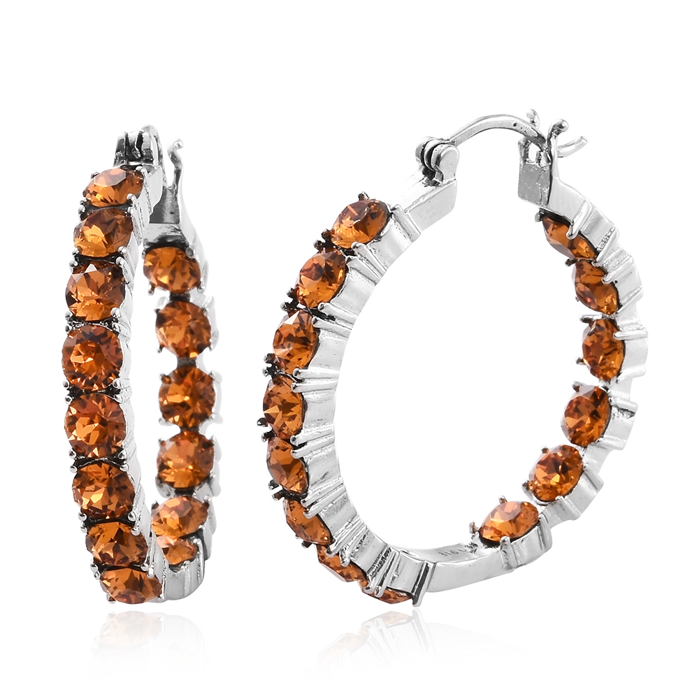Tlv stainless steel inside out hoop earrings made with for Swarovski jewelry online store