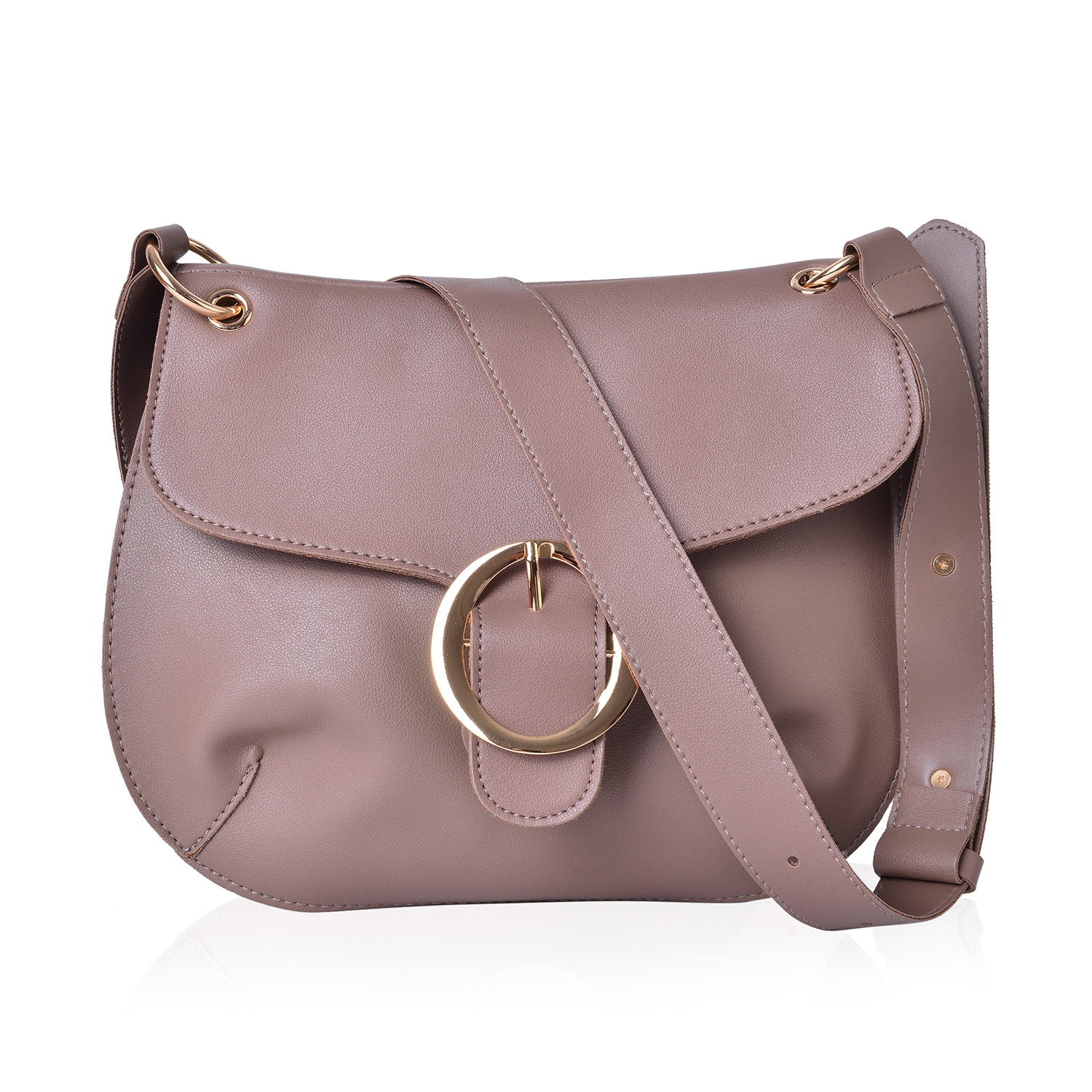 9404b1ba6b Taupe Faux Leather Crossbody Saddle Bag (11x8 in)