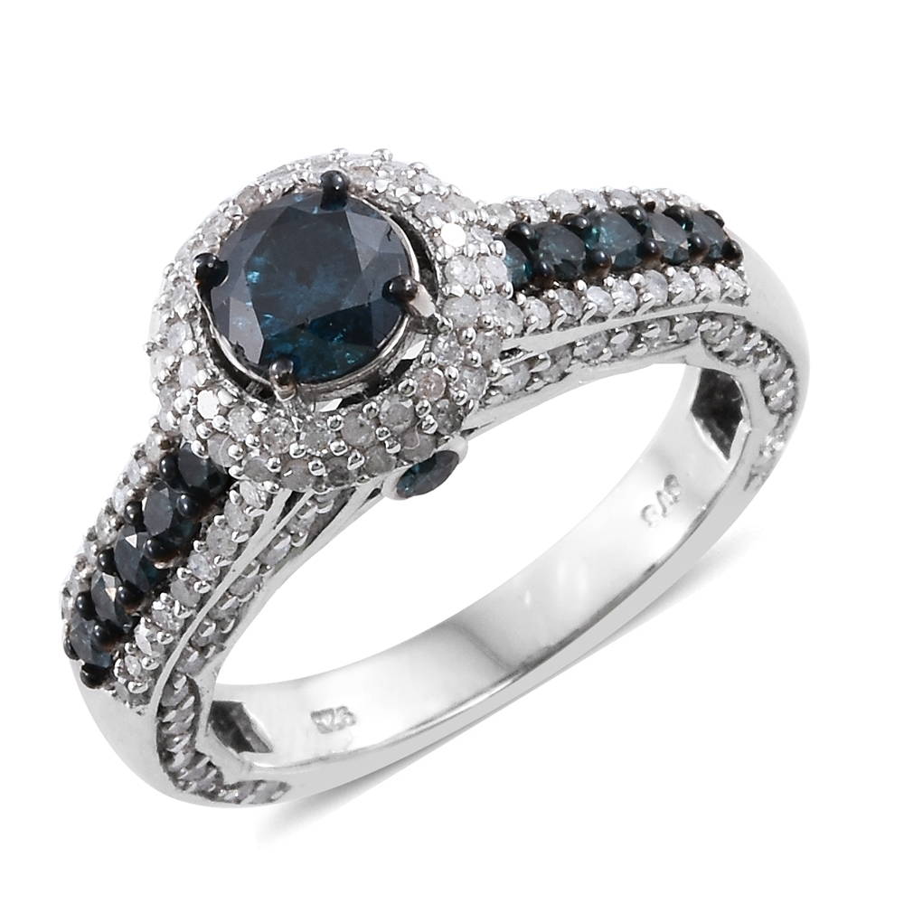 Doorbuster Blue Diamond (IR), Diamond Platinum Over Sterling Silver Ring (Size 6.0) TDiaWt 2.50 cts, TGW 2.50 cts.