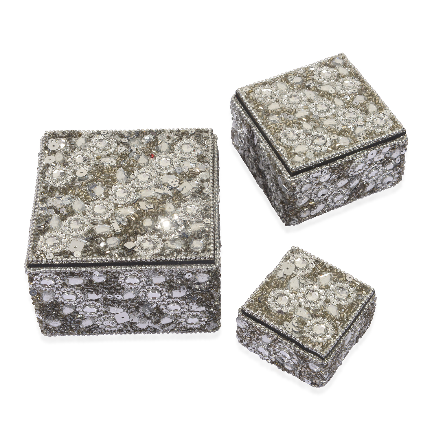 Handcrafted Set Of 3 Silver Beaded Bling Nesting Storage Boxes (4x2.5 2x1  ...