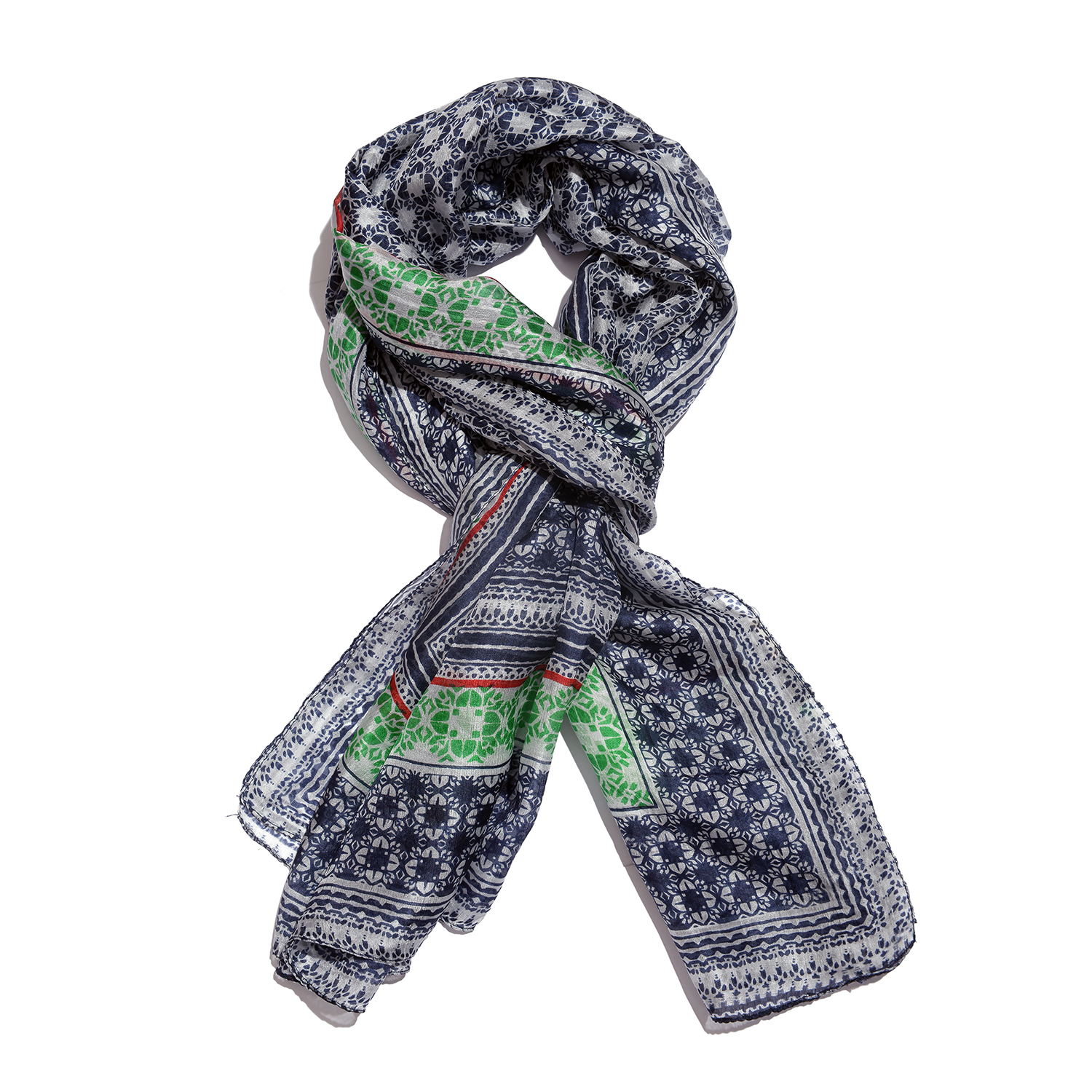 7593f97bcf8 Blue, White and Green 100% Natural Mulberry Silk Quatrefoil Printed Scarf  (78x40 in)