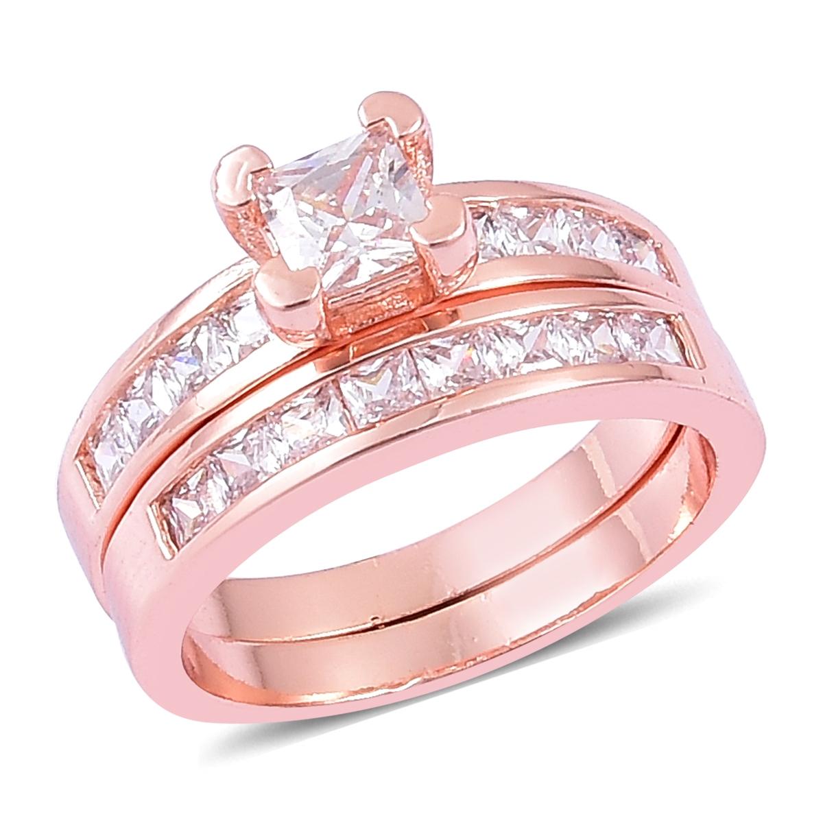 Set of 2 Simulated Diamond Rosetone Rings (Size 8) TGW 1.30 cts ...