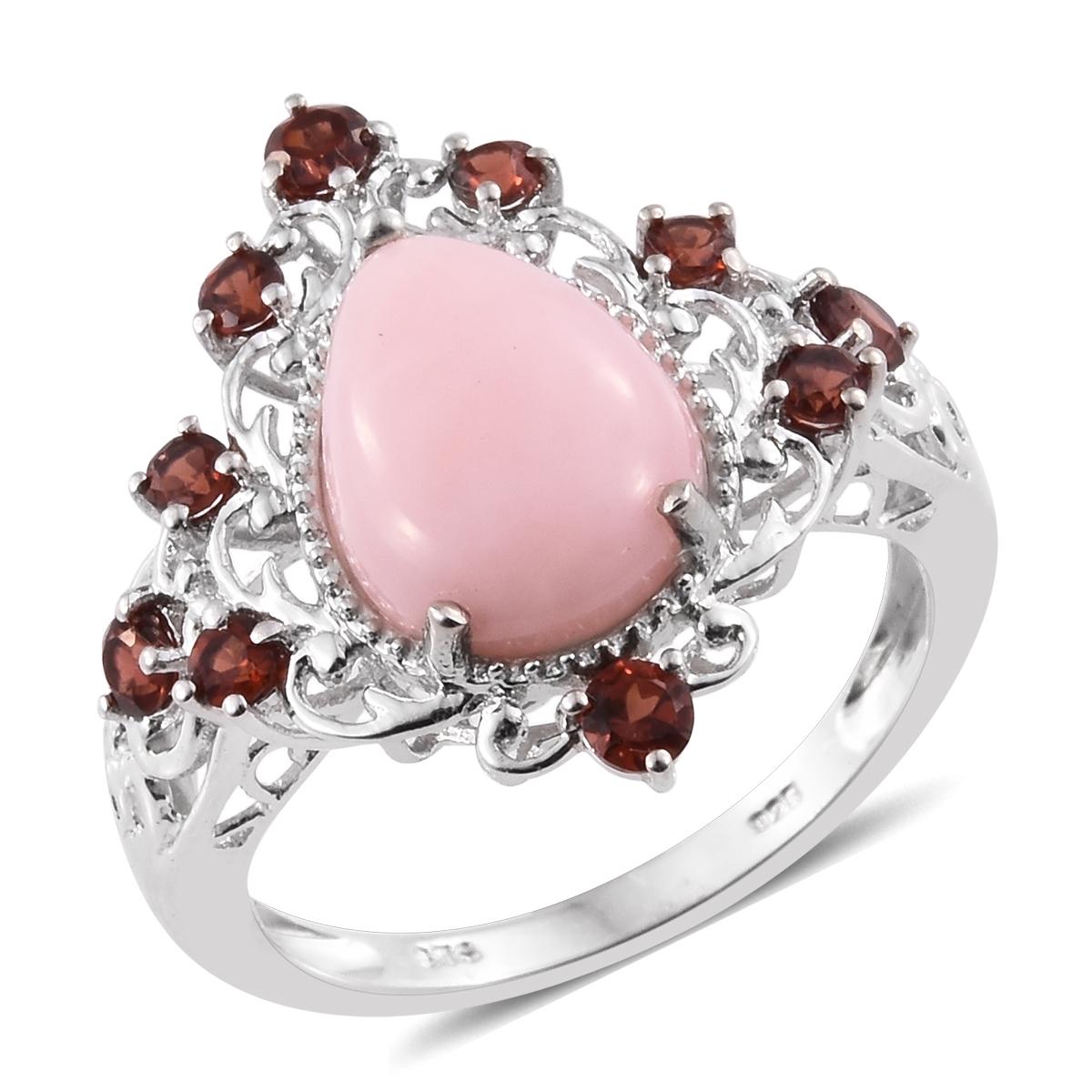 Peruvian Pink Opal, Mozambique Garnet Platinum Over Sterling Silver ...