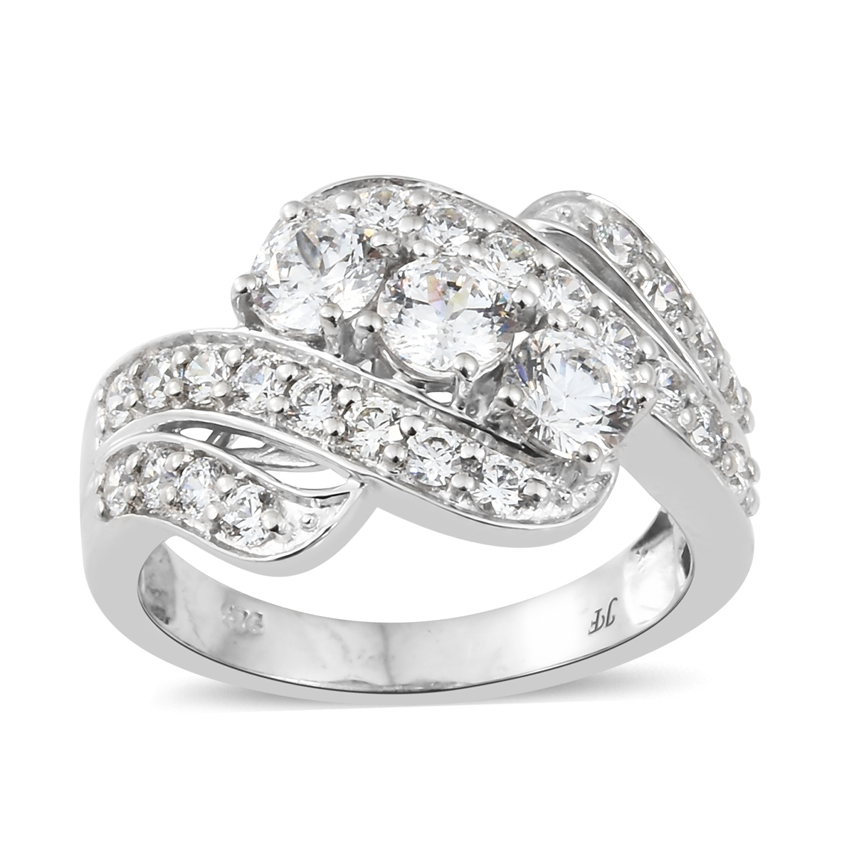 ed9f1c47e J Francis - Platinum Over Sterling Silver Ring Made with SWAROVSKI ZIRCONIA  (Size 5.0) TGW 4.59 cts. | Fashion | Rings | Jewelry | online-store | Shop  LC
