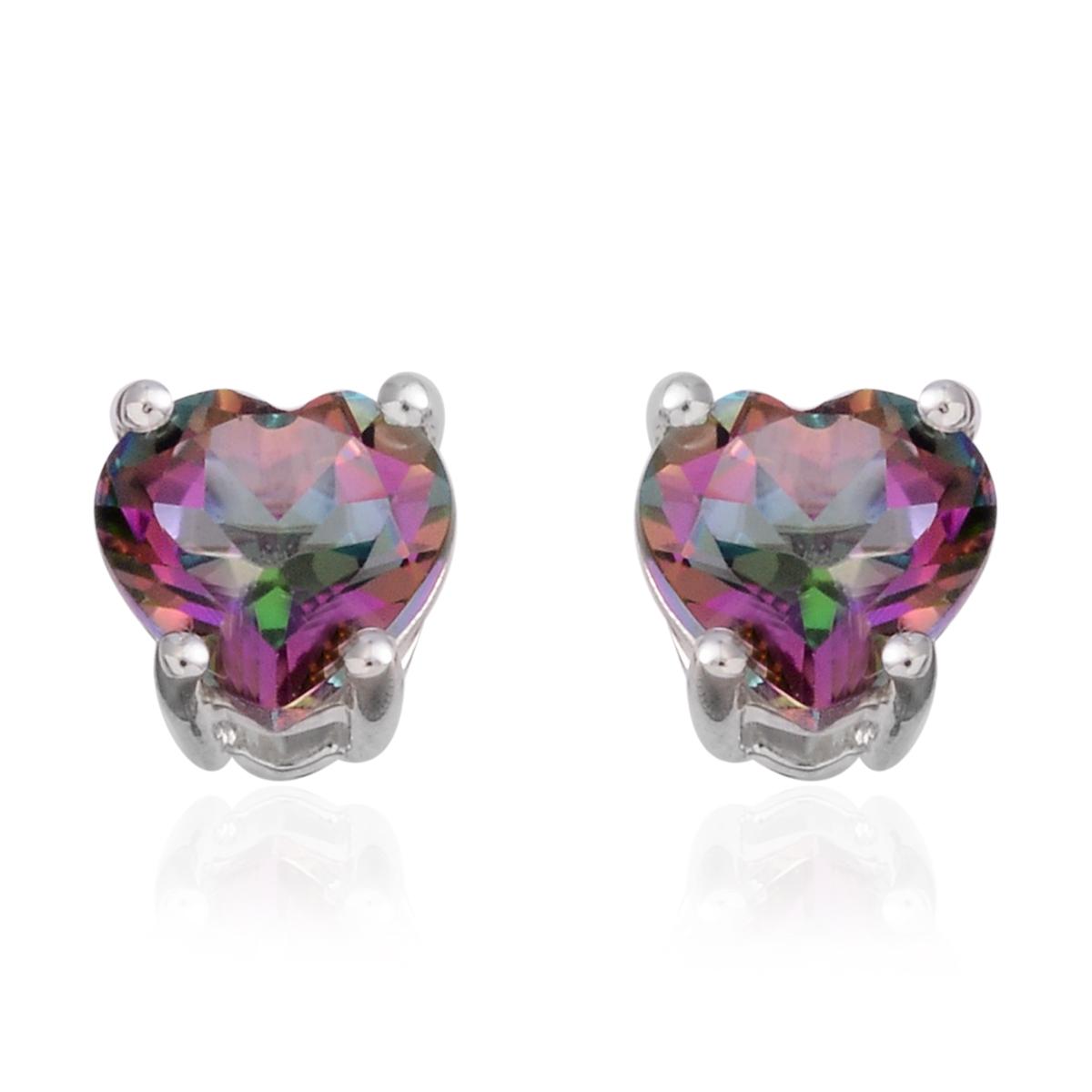 dbdfd86cd Northern Lights Mystic Topaz Sterling Silver Heart Stud Earrings TGW 1.84  cts.   Solitaire   Earrings   Jewelry   online-store   Shop LC