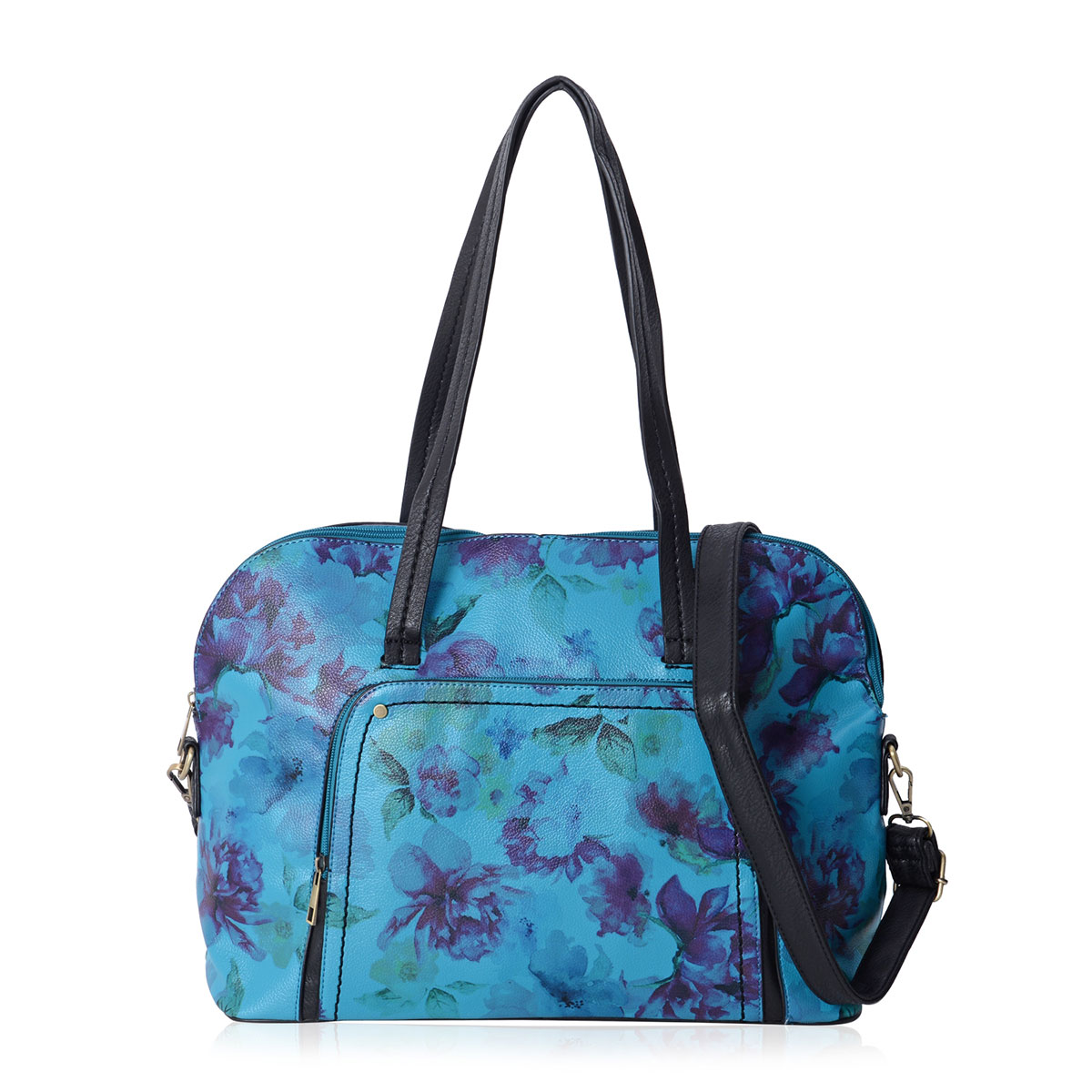 Turquoise with Black Flower Pattern Faux Leather Bowling Bag with Removable  Shoulder Strap (17x5x12 in)  a342189097d4e