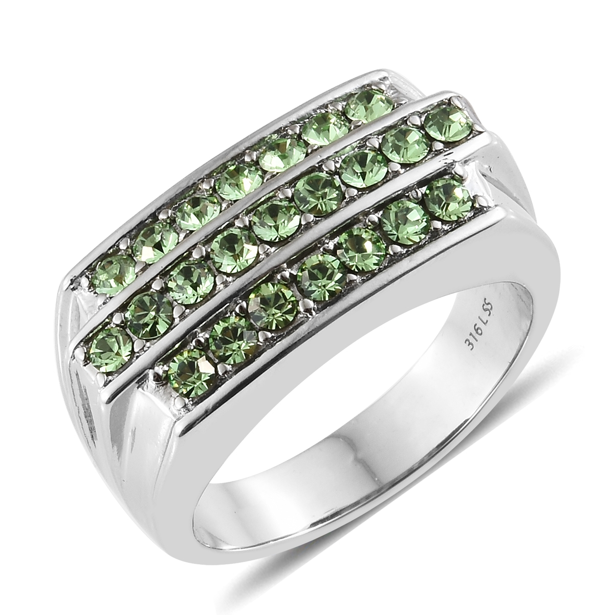 1d20125cd73e Stainless Steel Men s Ring (Size 12.0) Made with SWAROVSKI Peridot Crystal