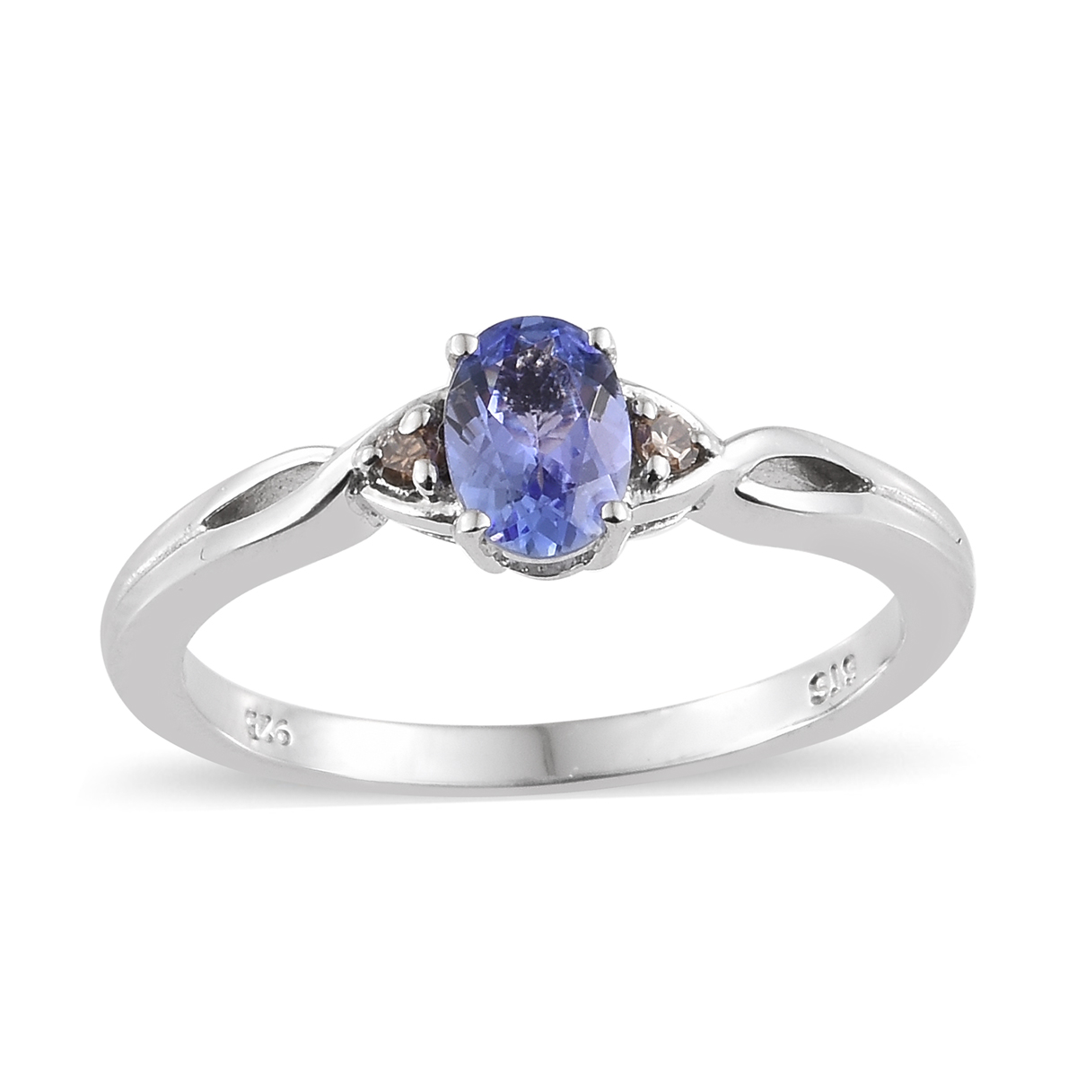 Champagne Tanzanite Tanzanite: Tanzanite, Natural Champagne Diamond Accent Platinum Over