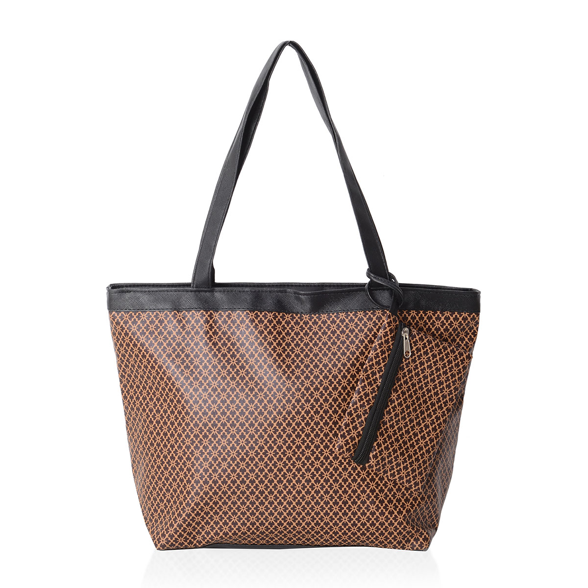 8e7fe223be Brown and Camel Floral Pattern Satin Black Trimmed Tote Bag (15.5x4.5x10  in) with Matching Removable Coin Bag (6x4.5 in)