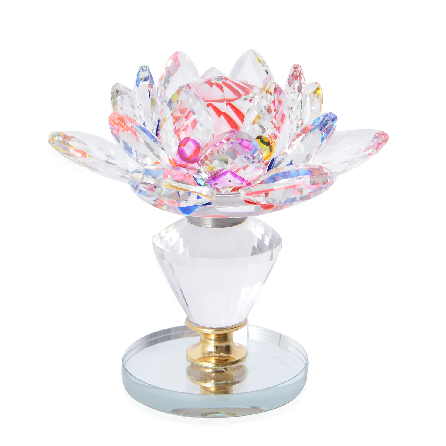 Multi Color Crystal Decorative Rotating Lotus Flower 35 In
