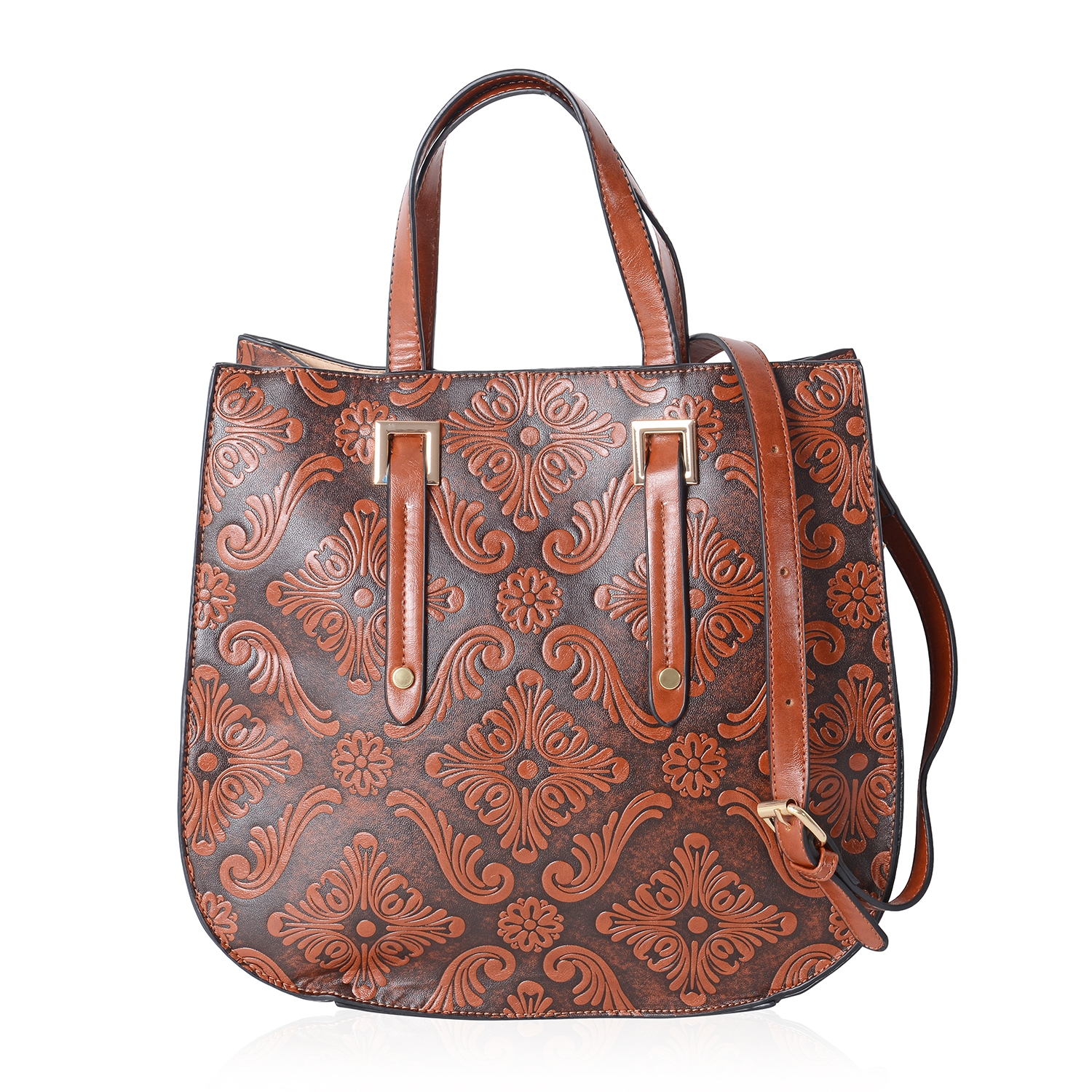 c0e30d46f3 Camel Faux Leather Embossed Baroque Pattern Saddle Tote Bag (11x5.5x11.5  in)