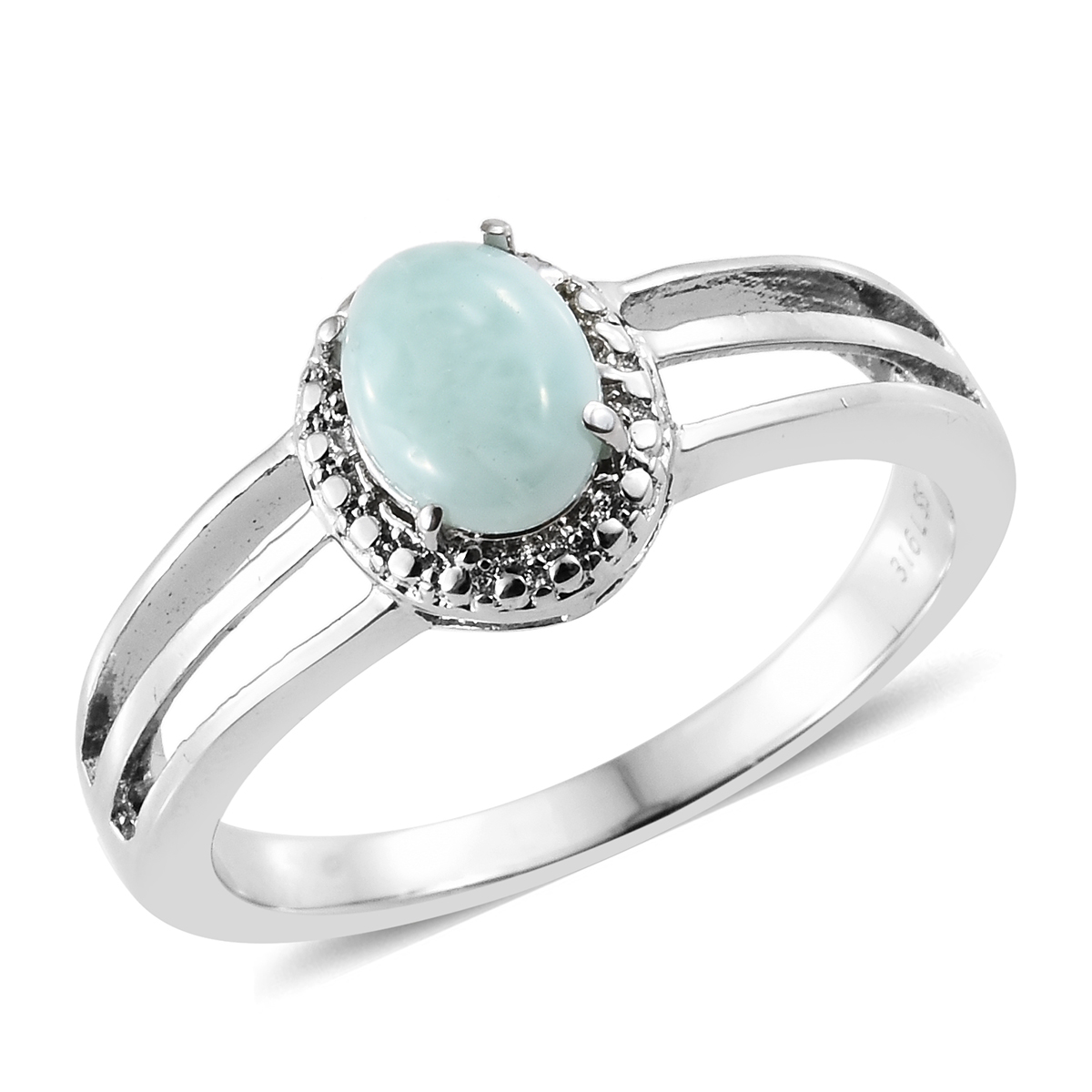 7398c563c Sea Mist Larimar Stainless Steel Ring (Size 6.0) TGW 1.45 cts. | Solitaire  | Rings | Jewelry | online-store | Shop LC