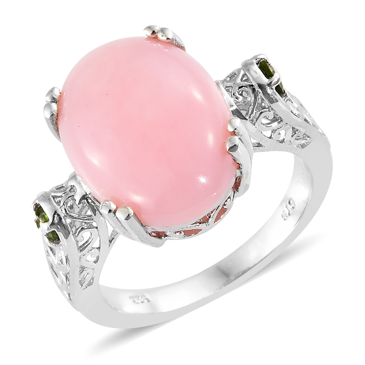 Peruvian Pink Opal, Russian Diopside Platinum Over Sterling Silver ...