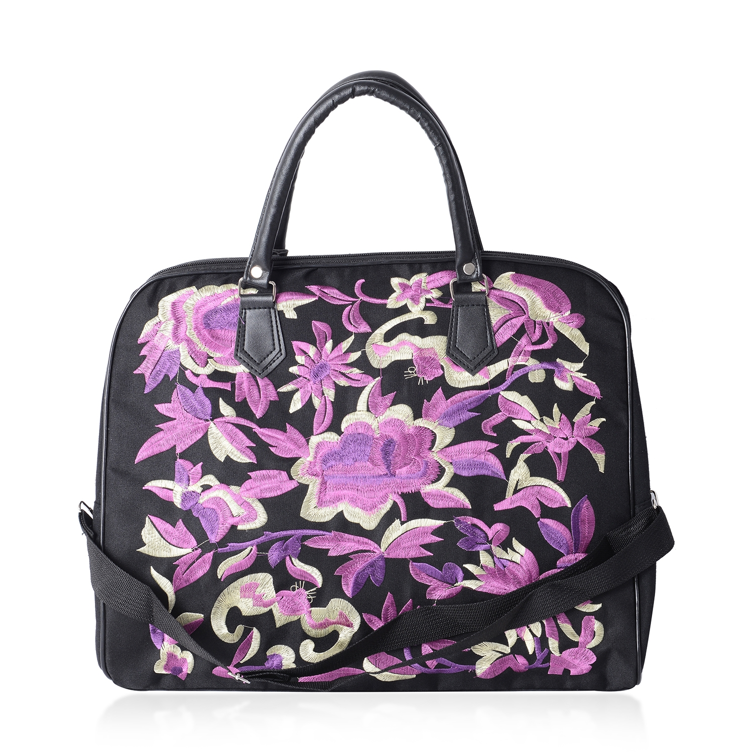 Purple and Tan Flower Embroidered Black Canvas Travel Bag (17x7.5x13 in)  with Shoulder Straps (36.5 in)