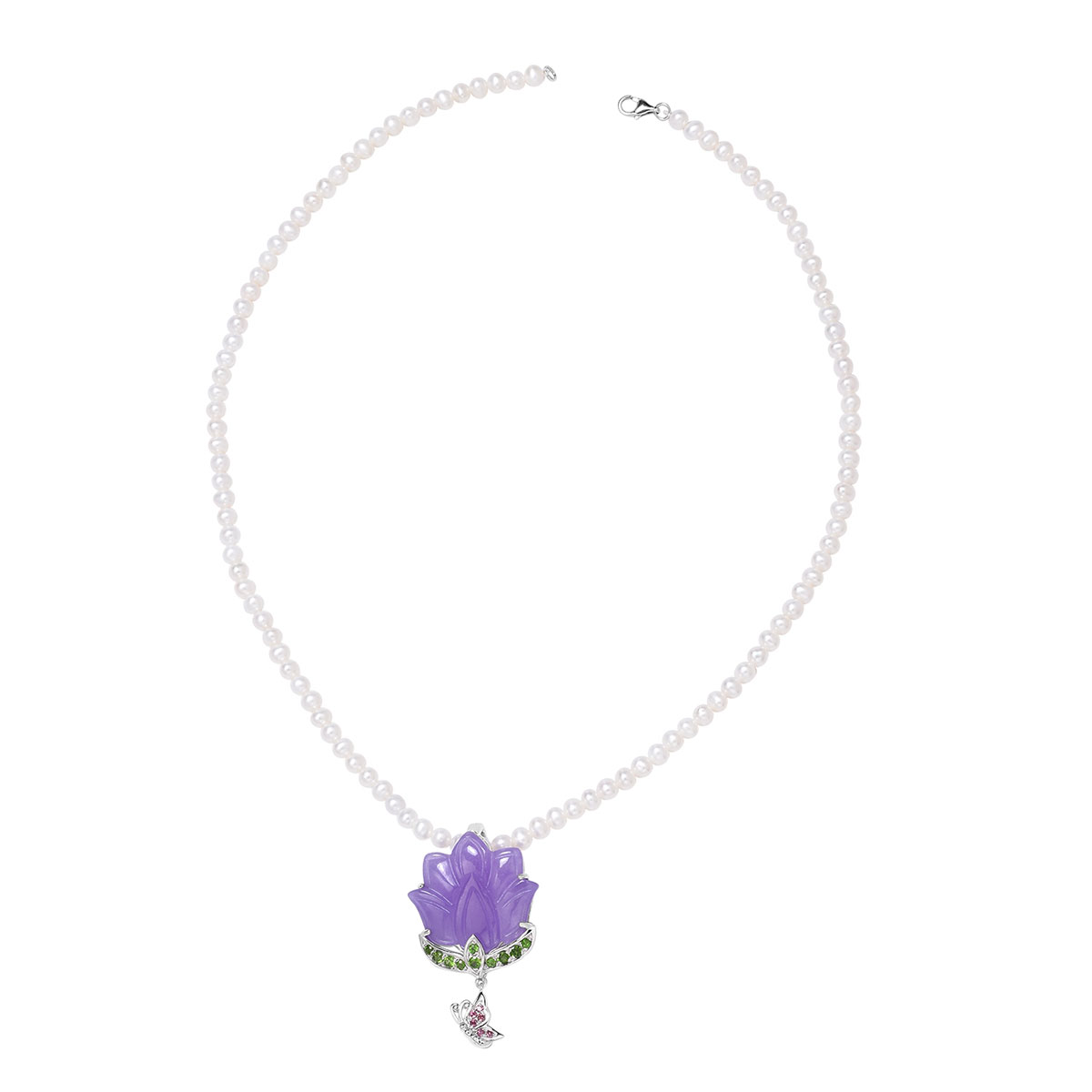 80e37702b Burmese Purple Jade Carved, Multi Gemstone Pendant With Pearl Beaded  Necklace (18 in) in Sterling Silver 20.95 ctw | Shop LC