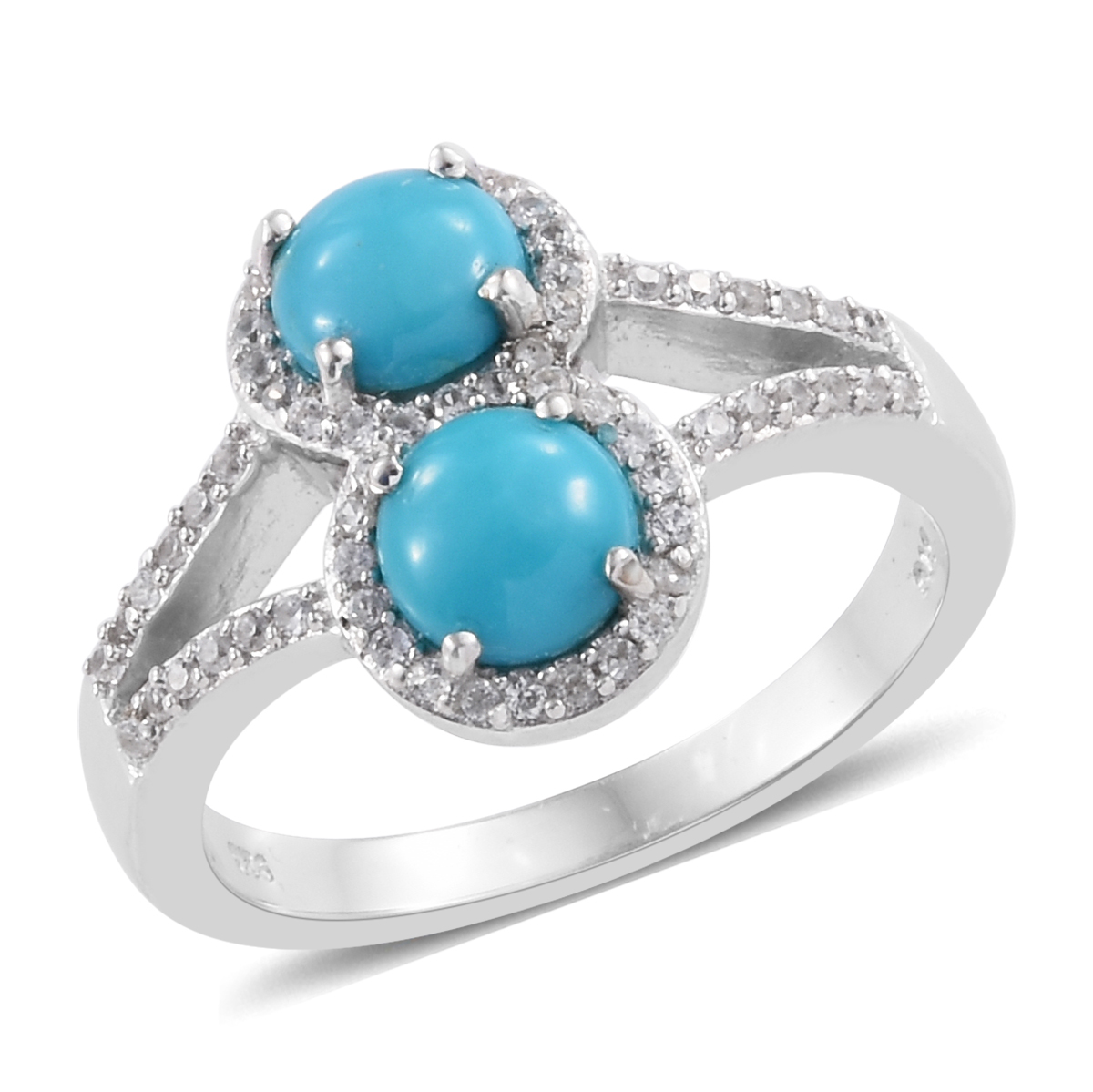 6c15e745fccd8b Arizona Sleeping Beauty Turquoise, Cambodian Zircon Platinum Over Sterling  Silver Split Ring (Size 7.0) 2.01 ctw | Shop LC