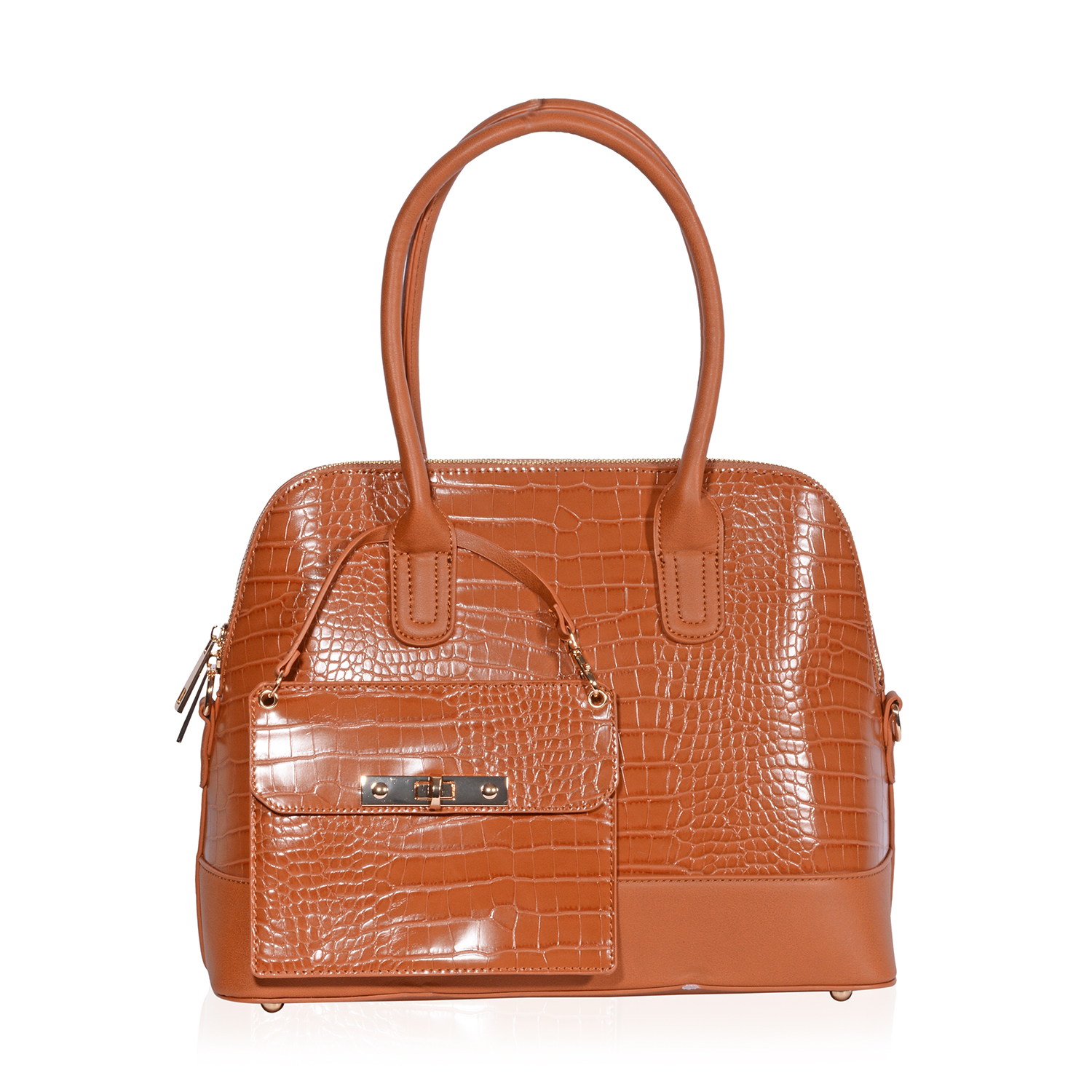 36c4f15c07 Camel Faux Leather Crocodile Embossed Structured Bag (14x6x10.5 in) with  Detachable Matching Wristlet Wallet (7x5.5 in)