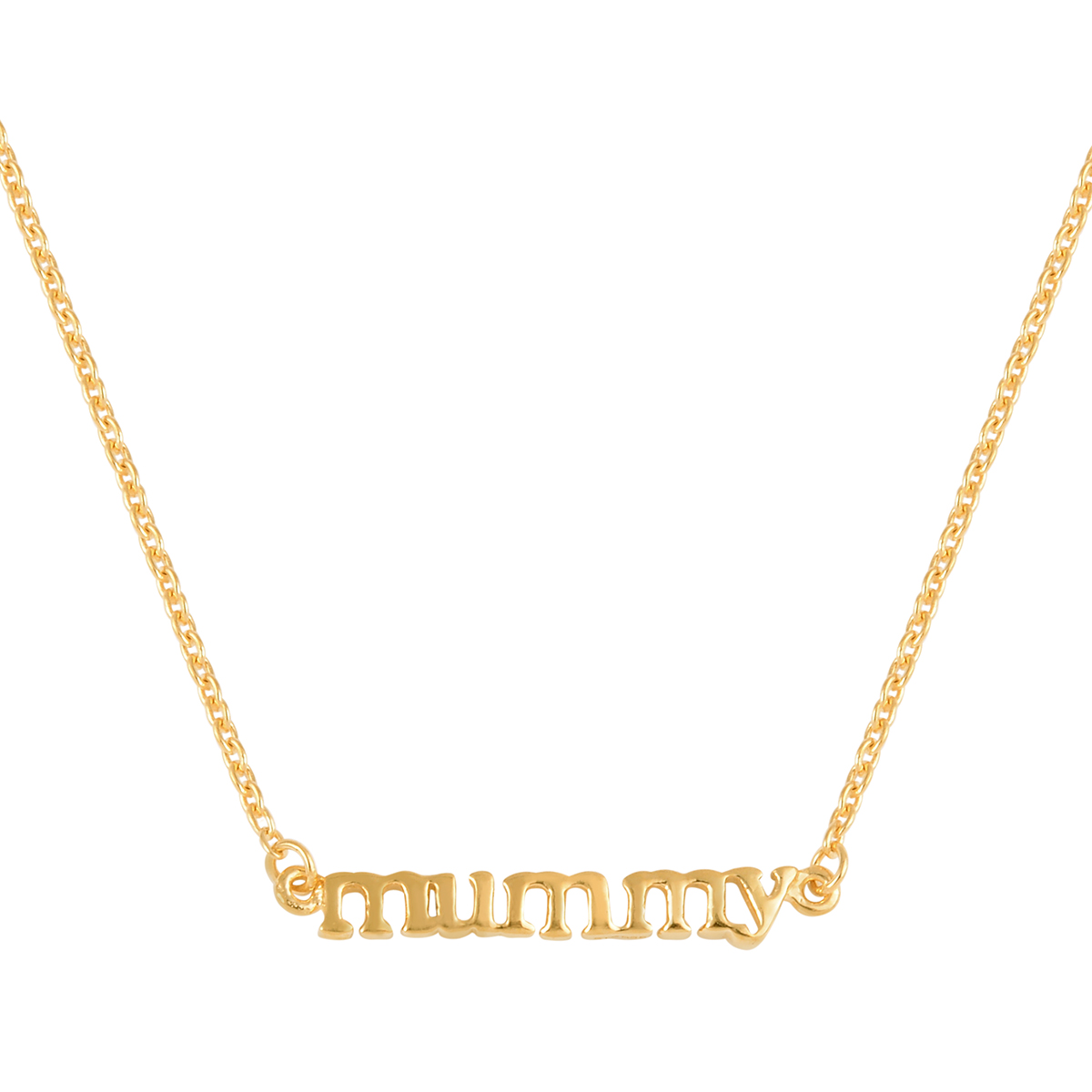 14K-Meghan-Markle-Yellow-Gold-Platinum-Over-Sterling-Silver-MUMMY-Chain-Necklace thumbnail 15