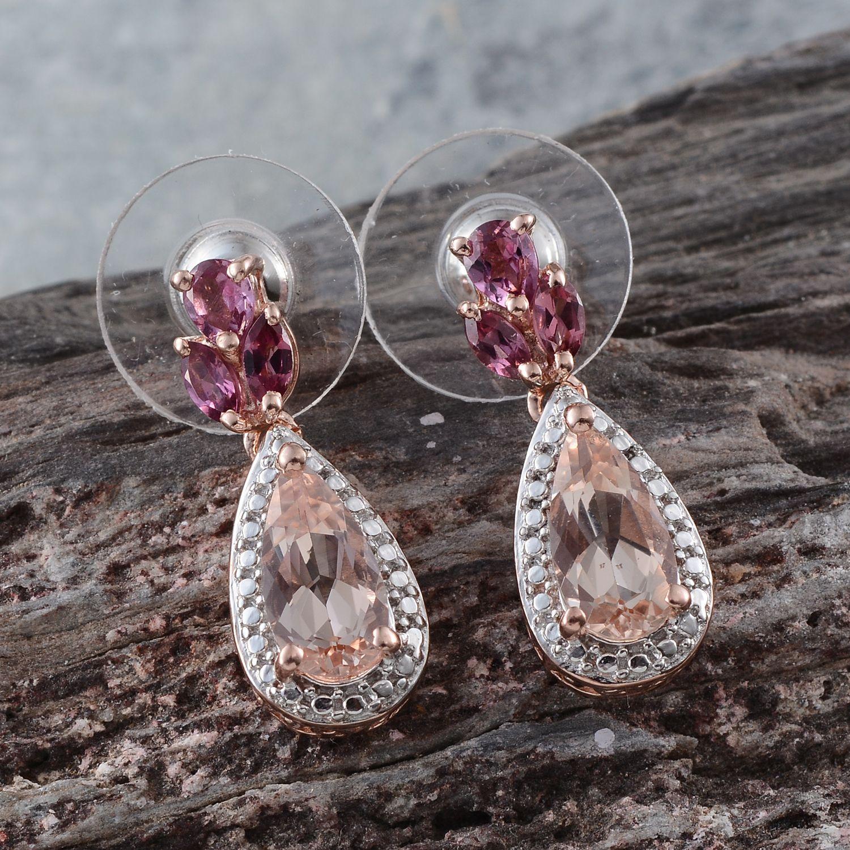 Marropino Morganite (Pear), Orissa Rhodolite Garnet Earrings in 14K RG Overlay Sterling Silver Nickel Free TGW 2.950 cts.