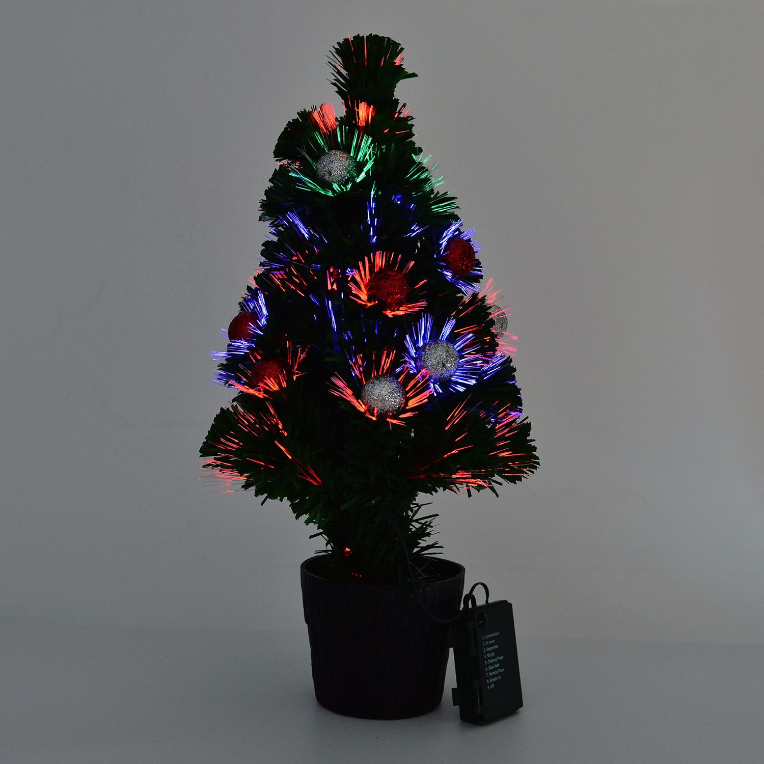 remote control fiber optic christmas tree 19 in redsilver ornaments