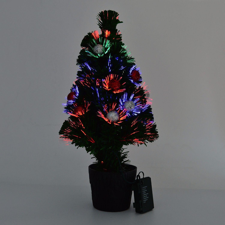 remote control fiber optic christmas tree 19 in redsilver ornaments